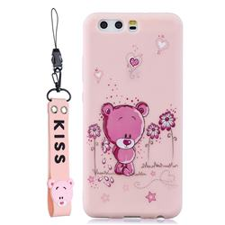 Pink Flower Bear Soft Kiss Candy Hand Strap Silicone Case for Huawei P10