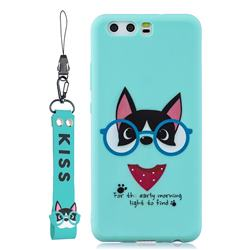 Green Glasses Dog Soft Kiss Candy Hand Strap Silicone Case for Huawei P10