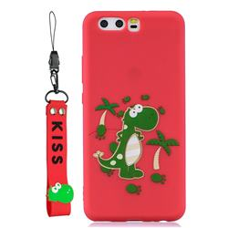 Red Dinosaur Soft Kiss Candy Hand Strap Silicone Case for Huawei P10