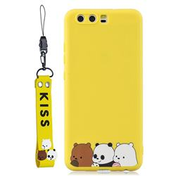 Yellow Bear Family Soft Kiss Candy Hand Strap Silicone Case for Huawei P10
