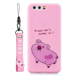 Pink Cute Pig Soft Kiss Candy Hand Strap Silicone Case for Huawei P10