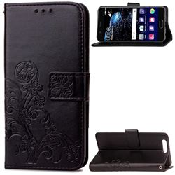 Embossing Imprint Four-Leaf Clover Leather Wallet Case for Huawei P10 - Black