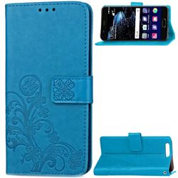 Embossing Imprint Four-Leaf Clover Leather Wallet Case for Huawei P10 - Blue