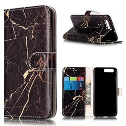 Black Gold Marble PU Leather Wallet Case for Huawei P10