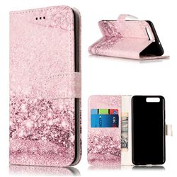 Glittering Rose Gold PU Leather Wallet Case for Huawei P10