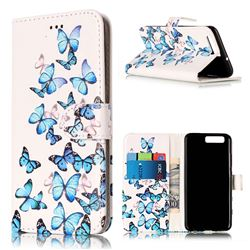 Blue Vivid Butterflies PU Leather Wallet Case for Huawei P10