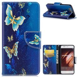Golden Butterflies Leather Wallet Case for Huawei P10