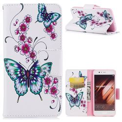 Peach Butterflies Leather Wallet Case for Huawei P10