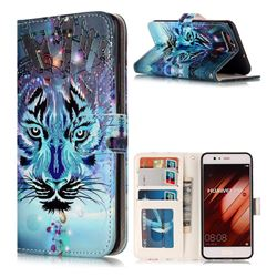Ice Wolf 3D Relief Oil PU Leather Wallet Case for Huawei P10