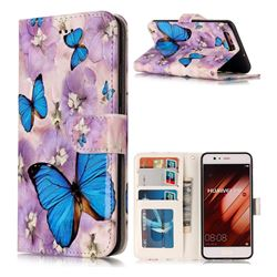 Purple Flowers Butterfly 3D Relief Oil PU Leather Wallet Case for Huawei P10