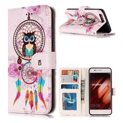 Wind Chimes Owl 3D Relief Oil PU Leather Wallet Case for Huawei P10