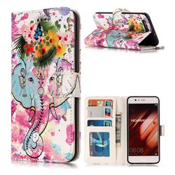 Flower Elephant 3D Relief Oil PU Leather Wallet Case for Huawei P10