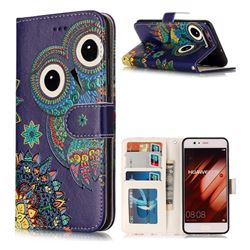 Folk Owl 3D Relief Oil PU Leather Wallet Case for Huawei P10