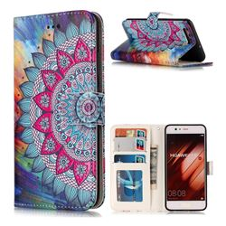 Mandala Flower 3D Relief Oil PU Leather Wallet Case for Huawei P10