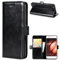 Luxury Crazy Horse PU Leather Wallet Case for Huawei P10 - Black