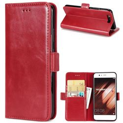 Luxury Crazy Horse PU Leather Wallet Case for Huawei P10 - Red