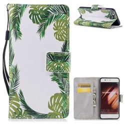 Green Leaves PU Leather Wallet Case for Huawei P10