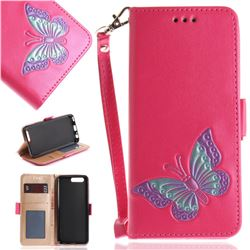 Imprint Embossing Butterfly Leather Wallet Case for Huawei P10 - Rose Red
