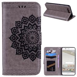Datura Flowers Flash Powder Leather Wallet Holster Case for Huawei P10 - Gray
