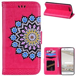 Datura Flowers Flash Powder Leather Wallet Holster Case for Huawei P10 - Rose