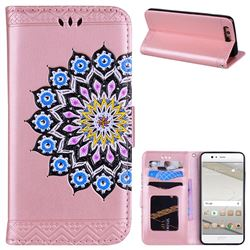 Datura Flowers Flash Powder Leather Wallet Holster Case for Huawei P10 - Pink