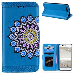 Datura Flowers Flash Powder Leather Wallet Holster Case for Huawei P10 - Blue