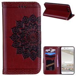 Datura Flowers Flash Powder Leather Wallet Holster Case for Huawei P10 - Brown