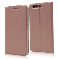 Ultra Slim Card Magnetic Automatic Suction Leather Wallet Case for Huawei P10 - Rose Gold