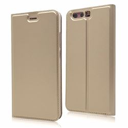 Ultra Slim Card Magnetic Automatic Suction Leather Wallet Case for Huawei P10 - Champagne
