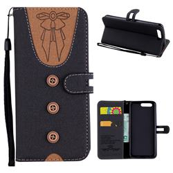 Ladies Bow Clothes Pattern Leather Wallet Phone Case for Huawei P10 - Black