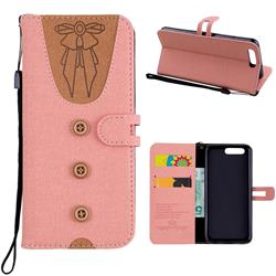 Ladies Bow Clothes Pattern Leather Wallet Phone Case for Huawei P10 - Pink