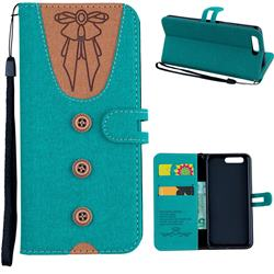 Ladies Bow Clothes Pattern Leather Wallet Phone Case for Huawei P10 - Green