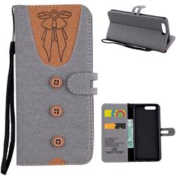 Ladies Bow Clothes Pattern Leather Wallet Phone Case for Huawei P10 - Gray