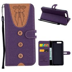Ladies Bow Clothes Pattern Leather Wallet Phone Case for Huawei P10 - Purple