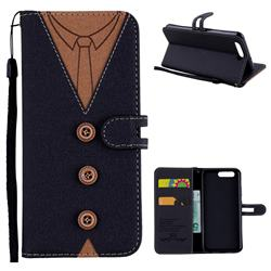 Mens Button Clothing Style Leather Wallet Phone Case for Huawei P10 - Black
