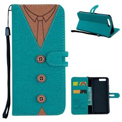 Mens Button Clothing Style Leather Wallet Phone Case for Huawei P10 - Green