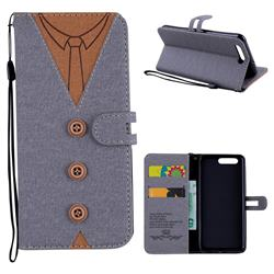 Mens Button Clothing Style Leather Wallet Phone Case for Huawei P10 - Gray