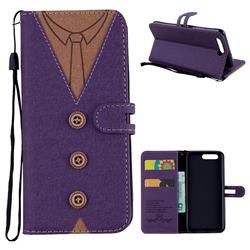Mens Button Clothing Style Leather Wallet Phone Case for Huawei P10 - Purple