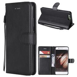 Retro Greek Classic Smooth PU Leather Wallet Phone Case for Huawei P10 - Black