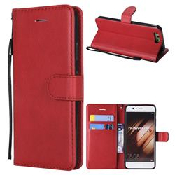 Retro Greek Classic Smooth PU Leather Wallet Phone Case for Huawei P10 - Red
