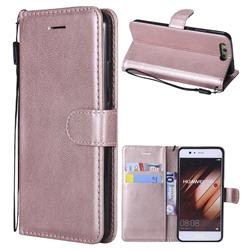 Retro Greek Classic Smooth PU Leather Wallet Phone Case for Huawei P10 - Rose Gold