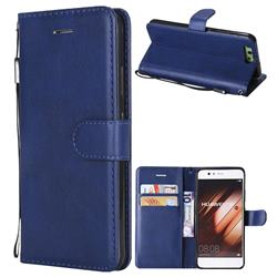 Retro Greek Classic Smooth PU Leather Wallet Phone Case for Huawei P10 - Blue