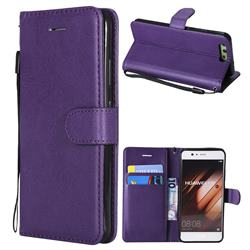 Retro Greek Classic Smooth PU Leather Wallet Phone Case for Huawei P10 - Purple