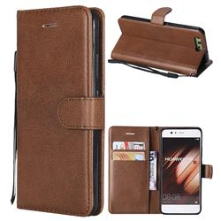 Retro Greek Classic Smooth PU Leather Wallet Phone Case for Huawei P10 - Brown