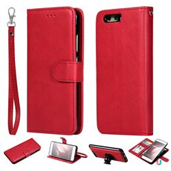 Retro Greek Detachable Magnetic PU Leather Wallet Phone Case for Huawei P10 - Red