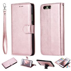 Retro Greek Detachable Magnetic PU Leather Wallet Phone Case for Huawei P10 - Rose Gold