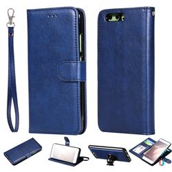 Retro Greek Detachable Magnetic PU Leather Wallet Phone Case for Huawei P10 - Blue