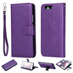 Retro Greek Detachable Magnetic PU Leather Wallet Phone Case for Huawei P10 - Purple