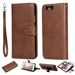 Retro Greek Detachable Magnetic PU Leather Wallet Phone Case for Huawei P10 - Brown
