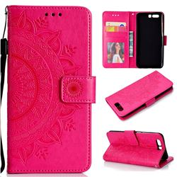 Intricate Embossing Datura Leather Wallet Case for Huawei P10 - Rose Red